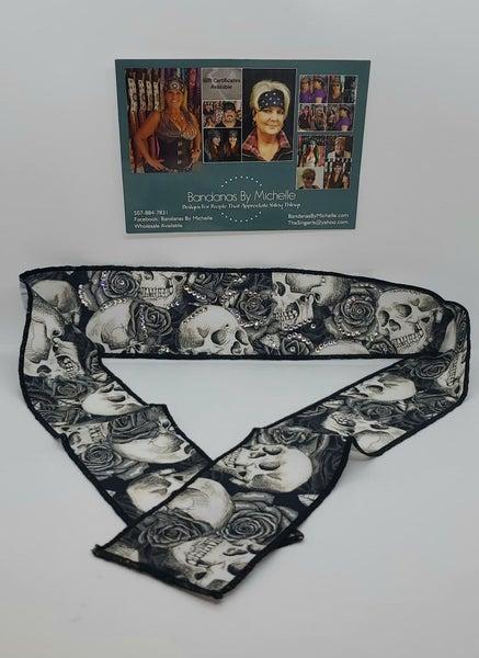 Skulls and Roses Headband Strip with Diamond Clear Swarovski Crystals (Sku5549)