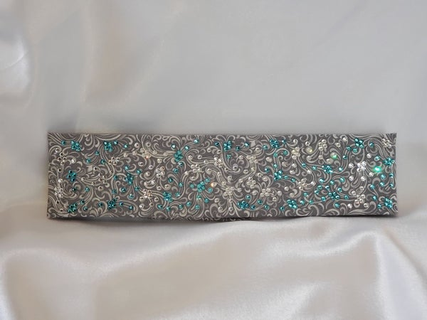 LeeAnnette Gray Scroll with Turquoise and Diamond Clear Swarovski Crystals