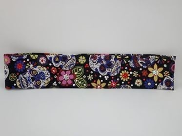 Narrow Sugar Skulls and Flowers with Red and Diamond Clear Swarovski Crystals (Sku9052)
