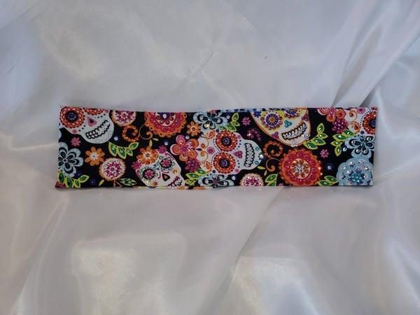 LeeAnnette Multi Colored Bright Sugar Skull Bandana With Different Colored Swarovski Crystals (Sku4049)