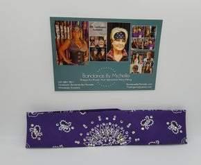 Narrow Purple Paisley with Diamond Clear Swarovski Crystals (Sku2484)