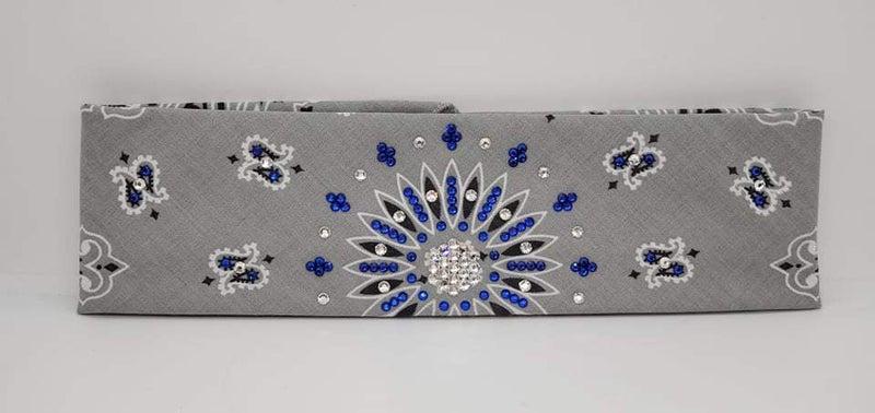 Silver Paisley with Blue and Diamond Clear Swarovski Crystals (Sku2500)