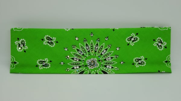 Lime Green Paisley with Diamond Clear & Light Green Austrian Crystals (Sku2510)