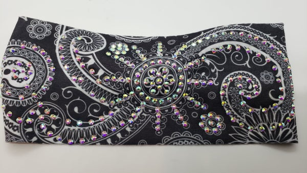 Stretchy Headband Charcoal Grey with Aurora Borealis Crystals (Sku5095)