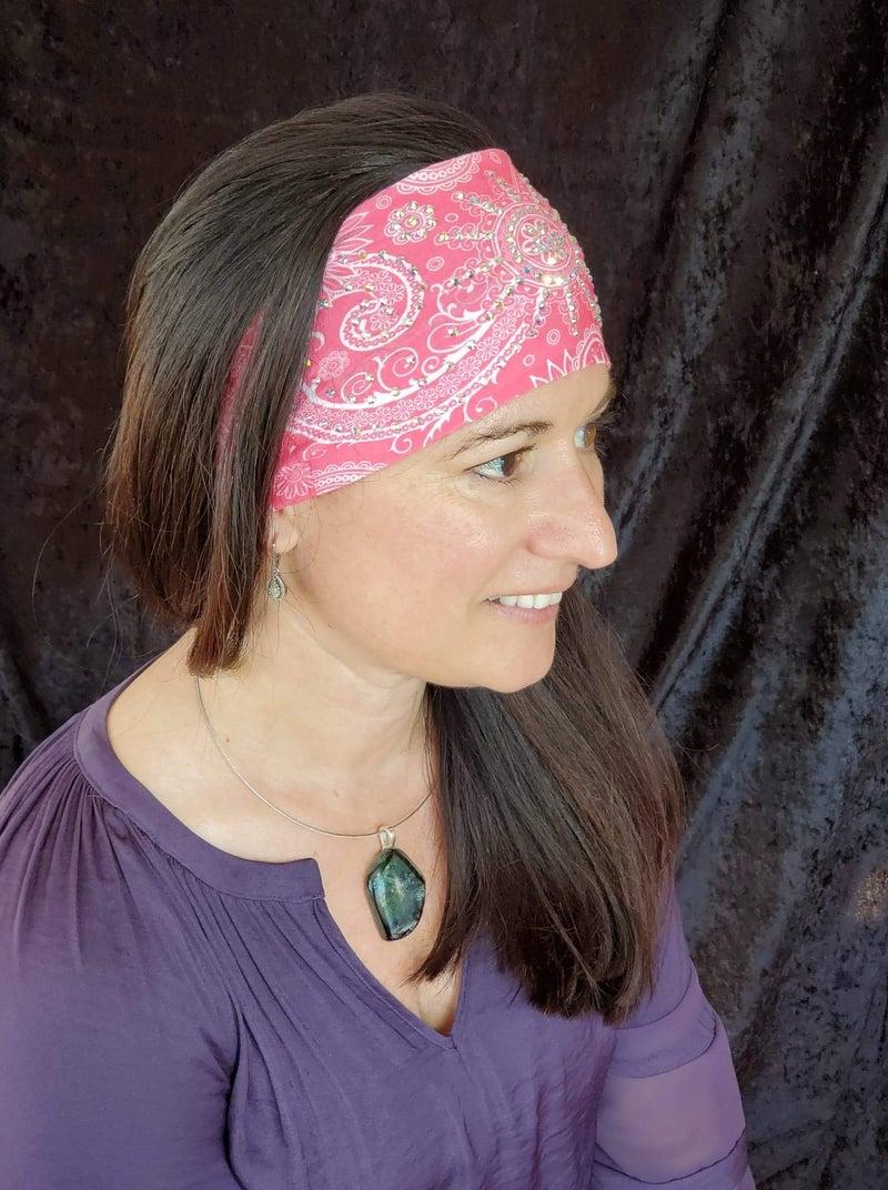 Stretchy Bright Pink Sun Spiral Headband with Aurora Borealis Crystals (Sku5040)