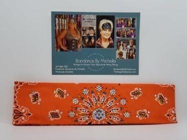 LeeAnnette Orange Paisley with Orange, Black and Diamond Clear Swarovski Crystals (Sku4260)