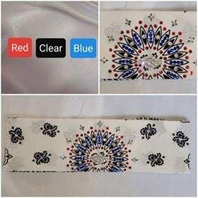 White Paisley with Red, Blue and Diamond Clear Swarovski Crystals (Sku2015)