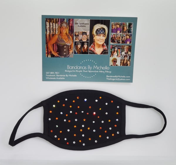 Black Face Mask with Orange and Diamond Clear Swarovski Crystals (Sku5923) *Final Sale*