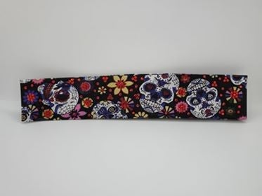 Narrow Sugar Skulls and Flowers with Red Swarovski Crystals (Sku9053)