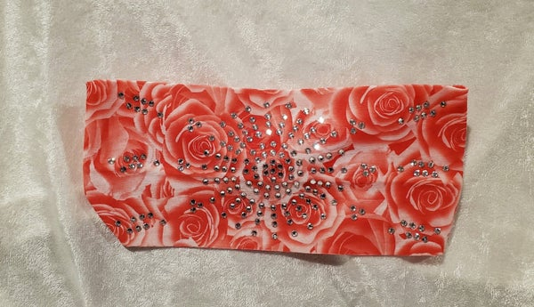 Stretchy Coral Rose Headband with Clear Crystals (Sku5043)