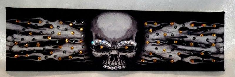 Flame Skull Bandana with Black and Yellow Swarovski Crystals (Sku1502)