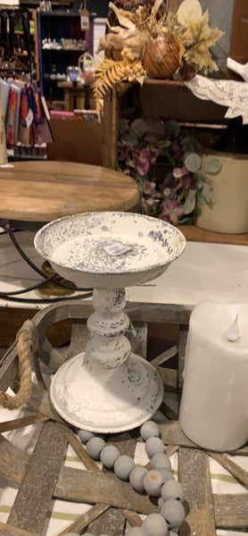 Distressed Metal Candle Stand