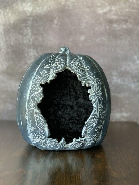 "8"" Black Glitter Cutout Pumpkin"