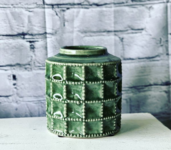 Green Terra Cotta Vase  Sm
