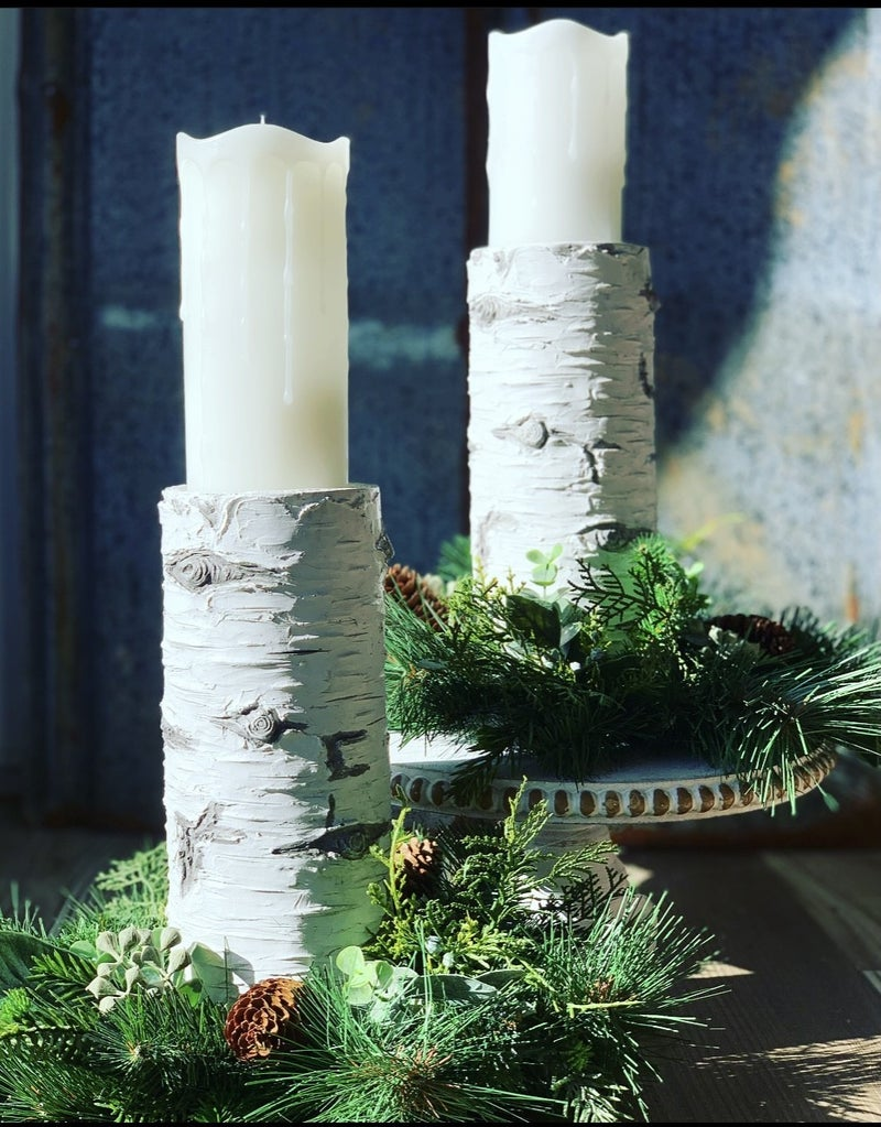 Birch Winter Candle Holder