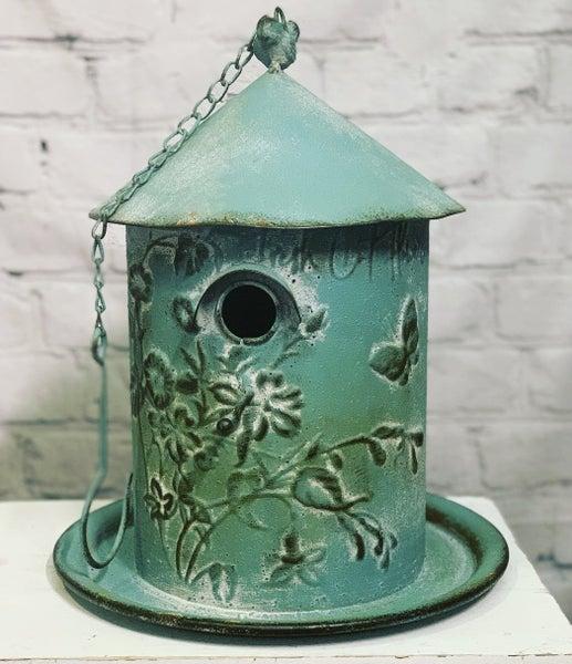 Blue Tin Birdhouse