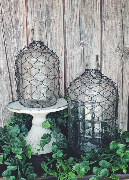 Glass And Metal Jug Vase