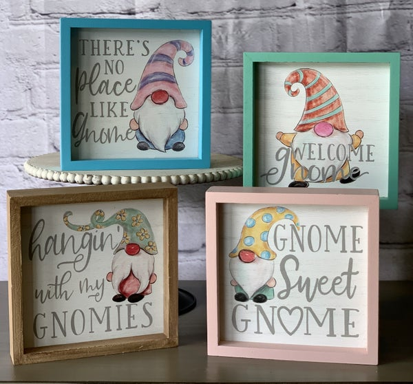 Wooden Tabletop Gnome sign (Four Designs)