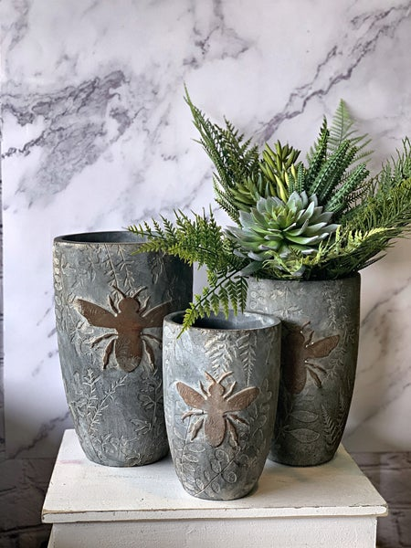 """8.5"""" Weathered Cement Pot w/ Embossed Bee"""