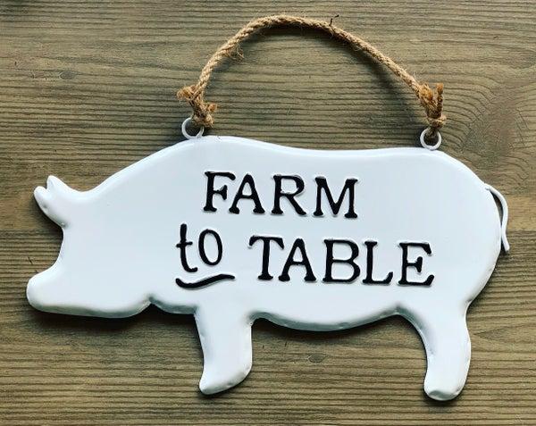 Enamel Pig Sign