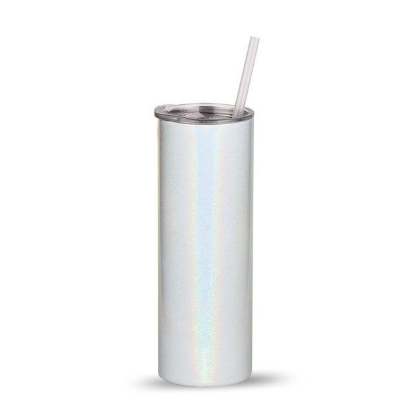 White Glitter Sublimation Tumbler 20 Oz