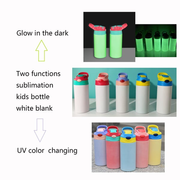 Kids UV and Glow in the Dark Flip Top Sublimation Tumbler 12 oz