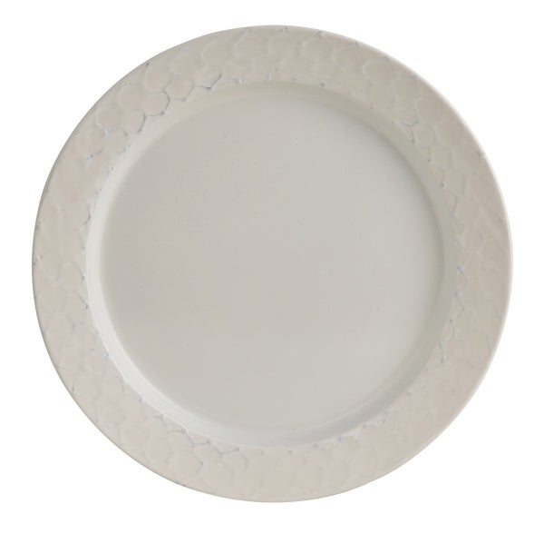 Enamel Dinner Plate - Cream Chicken Wire