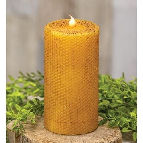 "Honeycomb Wrapped Pillar Candle, 3"" x 6"""