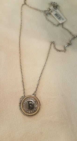 Initial Necklace, Silver & Crystal