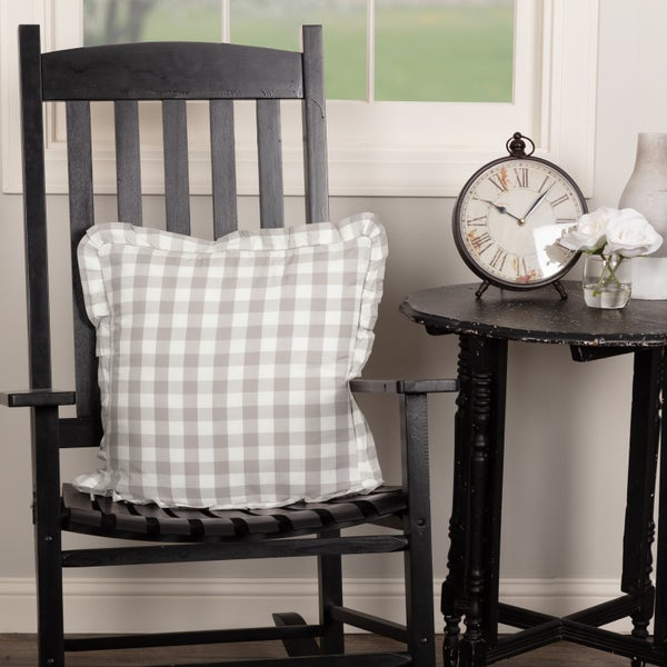 Gray & White Check Pillow
