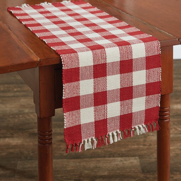 "36"" Wicklow Table Runner - Red/Cream"
