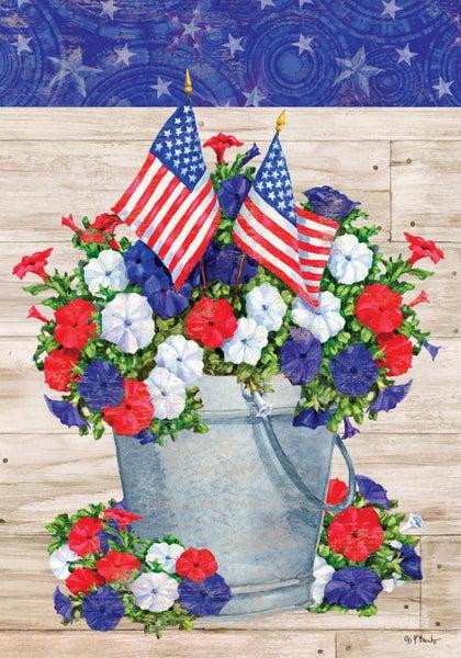 Garden Flag - Patriotic Pail