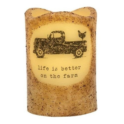 Rustic Pillar Candle, Truck