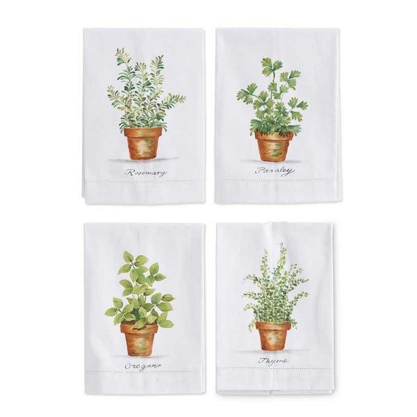 Guest Towel, Handpainted Herbs