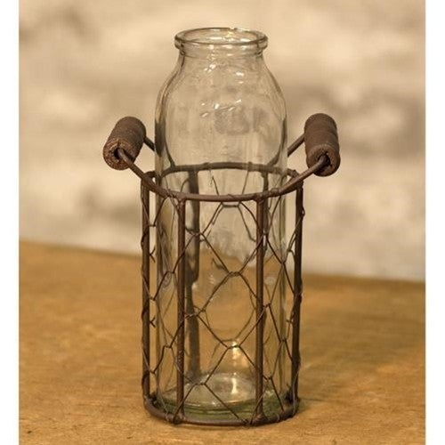 Glass Bottle in Wire Basket