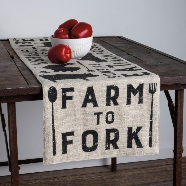 Cotton Table Runner, Farm To Fork