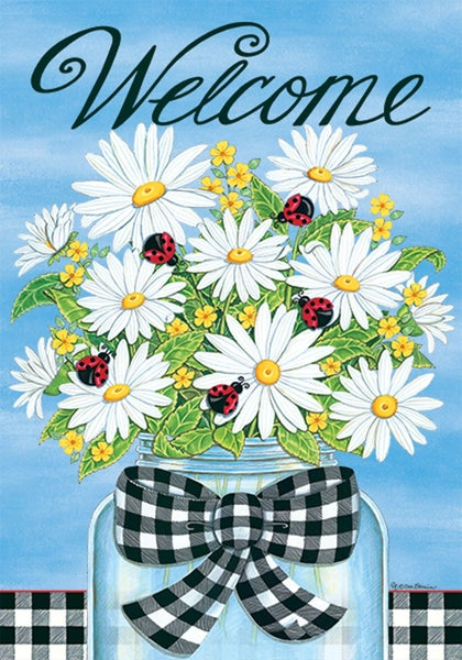 Garden Flag - Daisies and Ladybugs