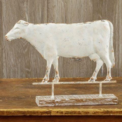 Cow Weather Vane on Wood Base