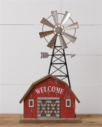 Barn with Windmill Sitter