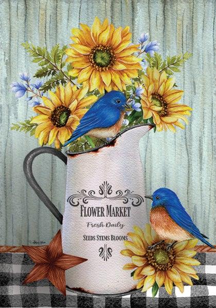 Garden Flag - Bluebirds & Sunflowers
