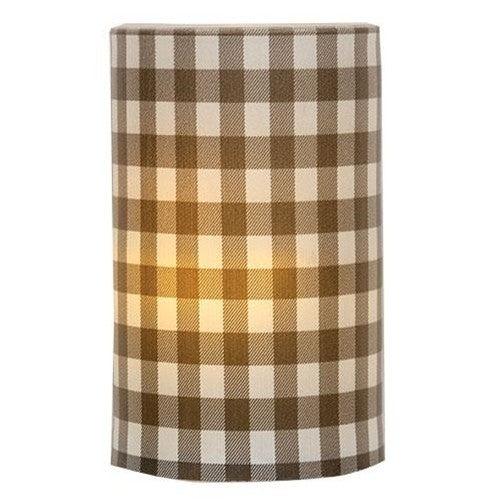 Electric Pillar Candle - Gray Check