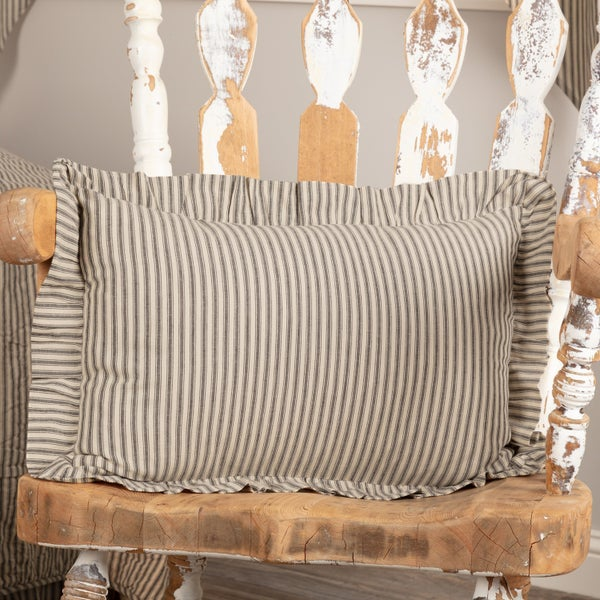 Pillow, Sawyer Mill Ticking Stripe, Charcoal