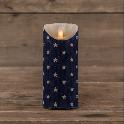 "7"" Navy Star PIllar Candle, Moving Flame"