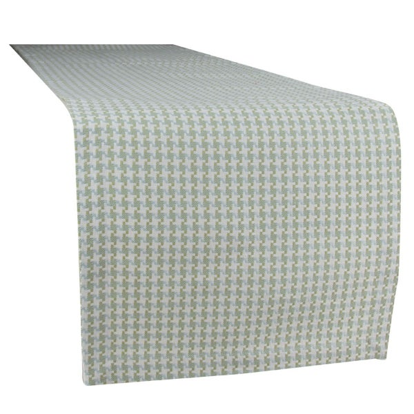 Houndstooth Table Runner, Green/Blue