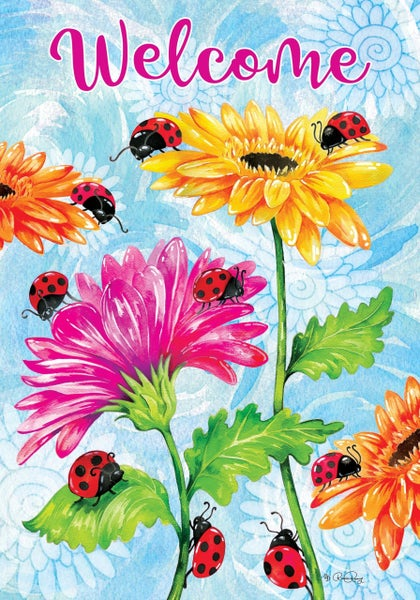 Garden Flag - Ladybugs and Flowers