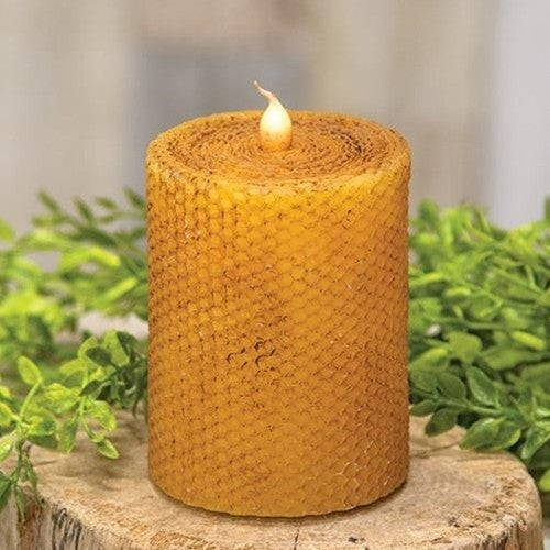 "Honeycomb Wrapper Pillar Candle 3"" x 4"""