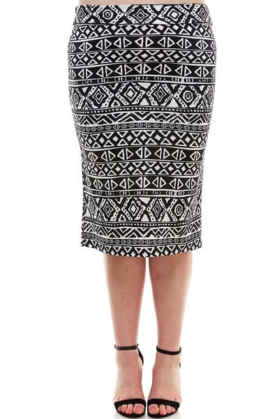 Plus Skirt ~ Aztec Print