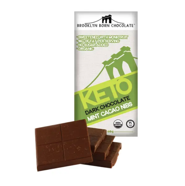 Mint Cacao Nibs Keto Dark Chocolate Bar