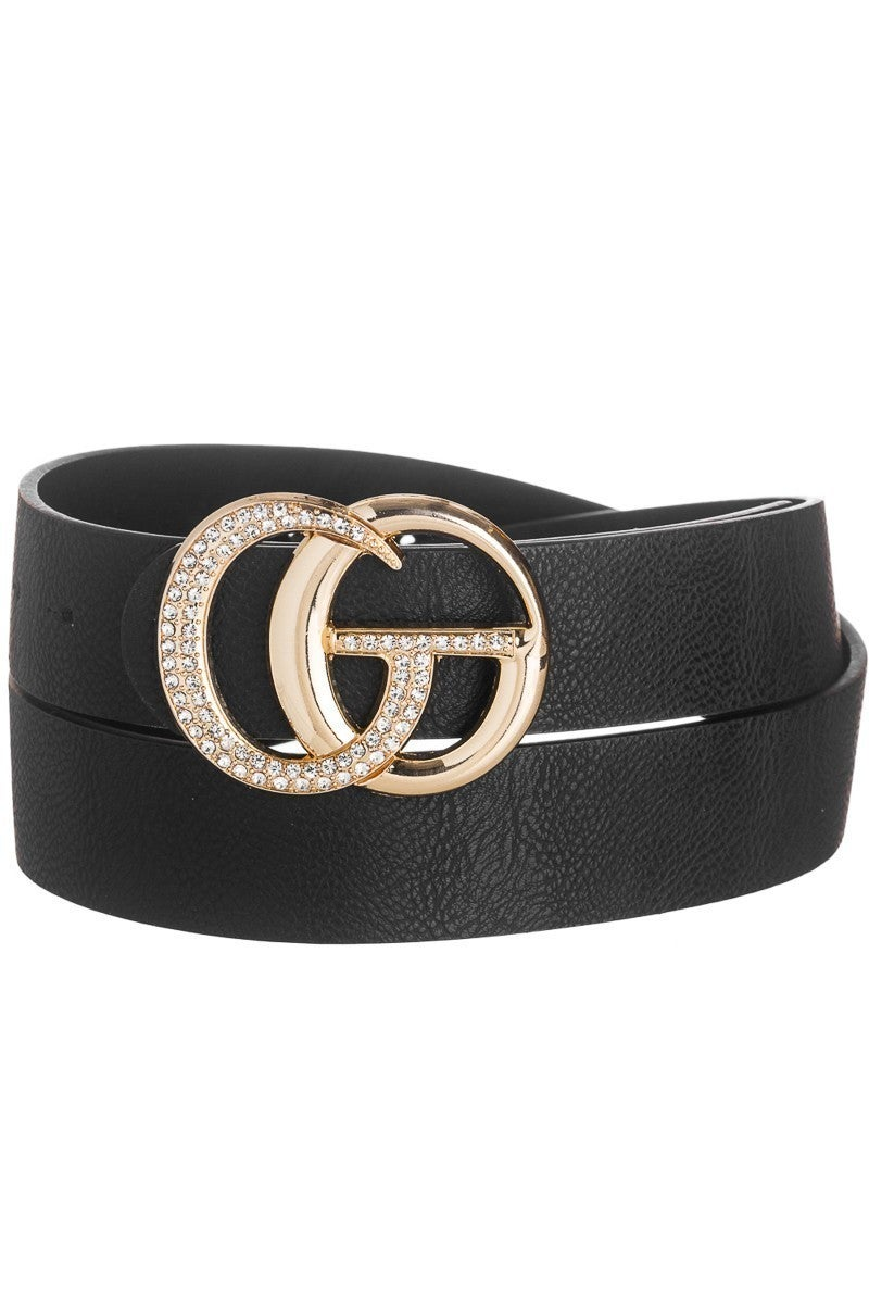 Faux Leather Belt ~ Crystal