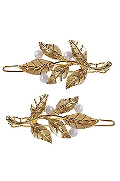 Two-Piece Leaf Pearl Hair Clip Set